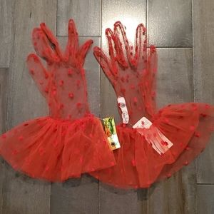 Vintage Cornelia James Red Lace Gloves
